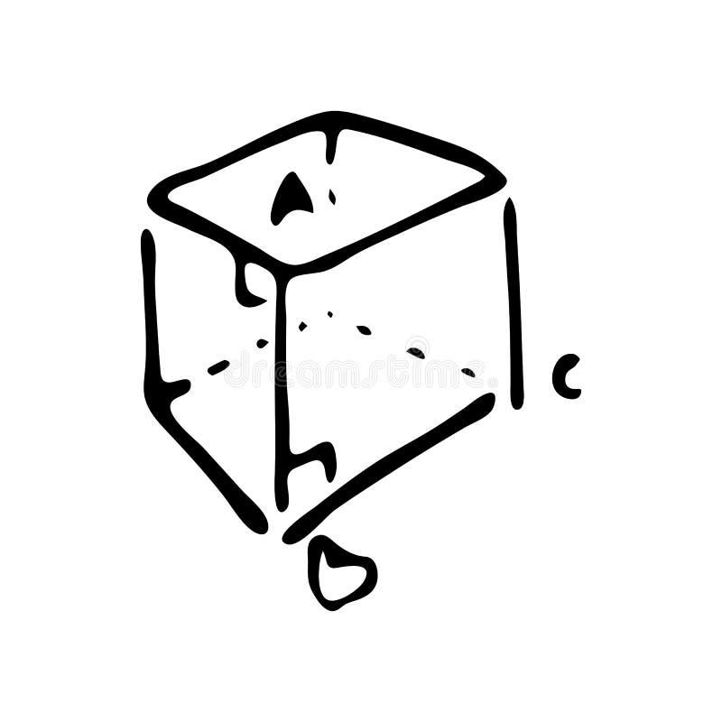 Hand dragit matematiskt kubklotter Skissa tillbaka till skolan, symbol stock illustrationer