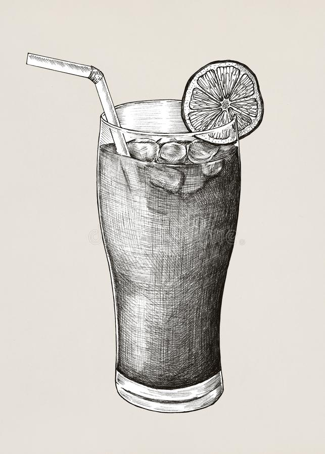 Hand dragit med is te för citron royaltyfri illustrationer