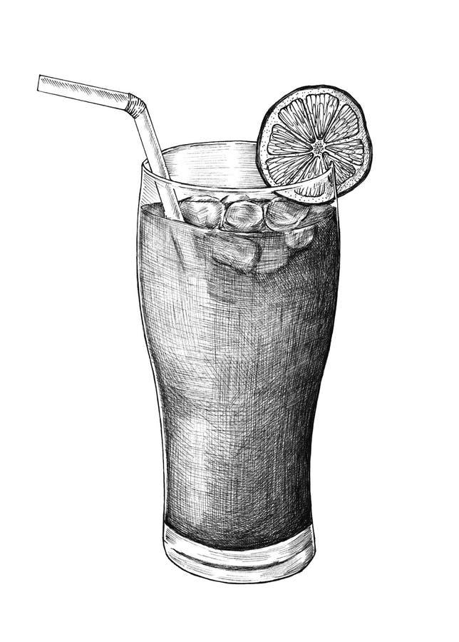 Hand-dragit med is te för citron vektor illustrationer
