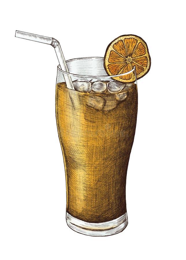Hand-dragit med is te för citron royaltyfri illustrationer