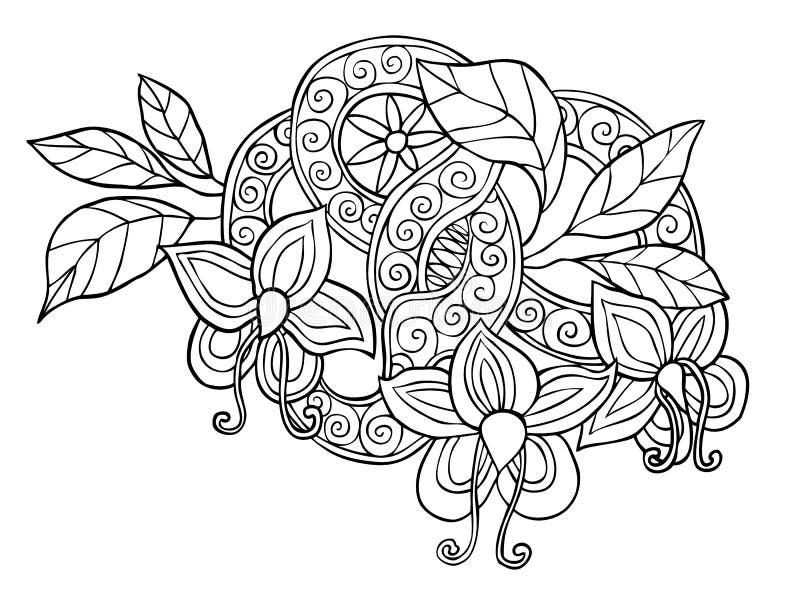 Hand dragit monokromt klotterblommor, blad och band med virvel royaltyfri illustrationer