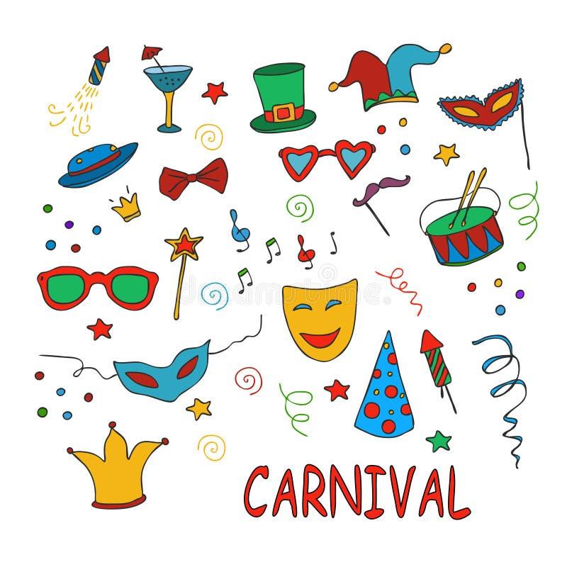 Hand dragit parti, karnevaluppsättning stock illustrationer