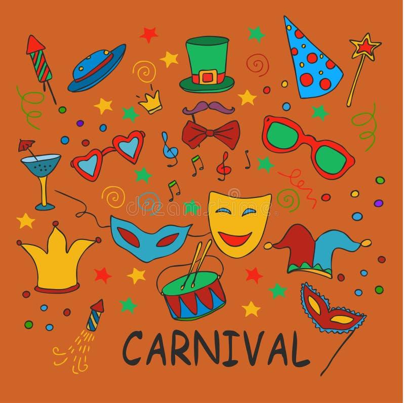 Hand dragit parti, karnevaluppsättning vektor illustrationer