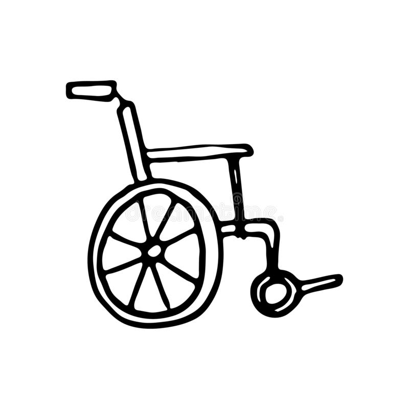 Hand dragit rörelsehindrat vagnsklotter Skissa stilsymbolen Decorati vektor illustrationer