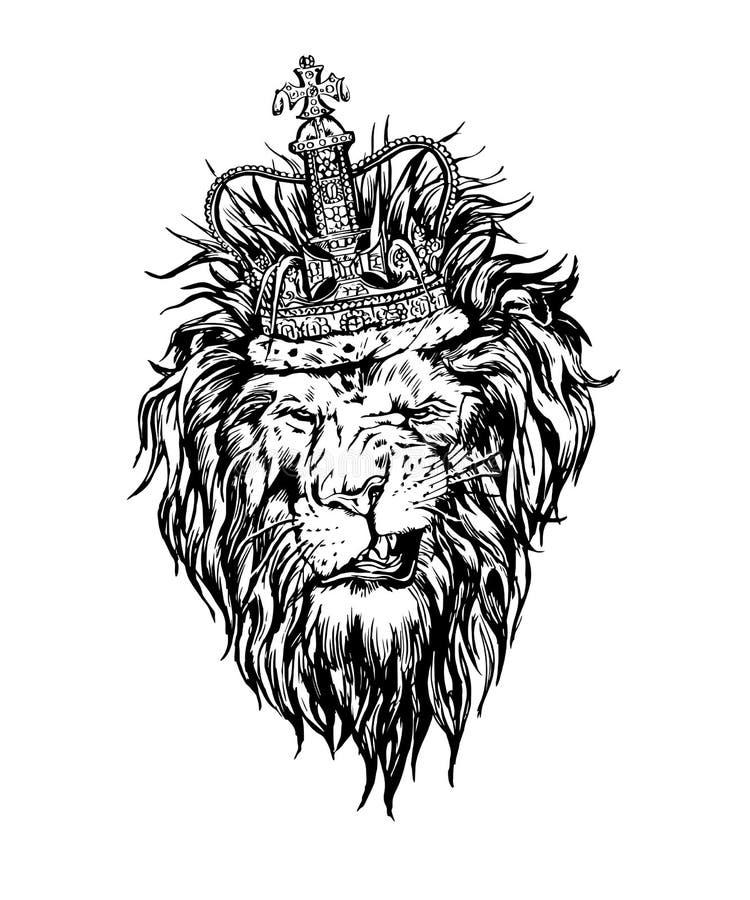 Hand dragit realistiskt lejon i kronatecken stock illustrationer