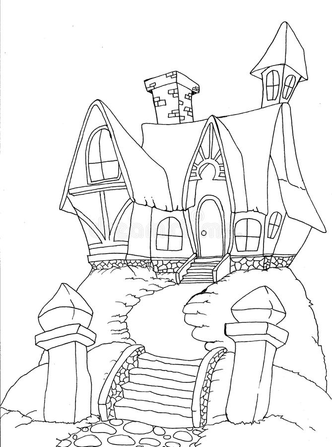 Hand dragit sagaklotterhus för färgläggningboken för vuxen människa royaltyfri illustrationer