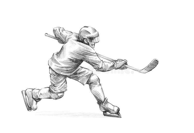 Hand-dragit skissa, rita illustrationen av en ishockeyspelare vektor illustrationer