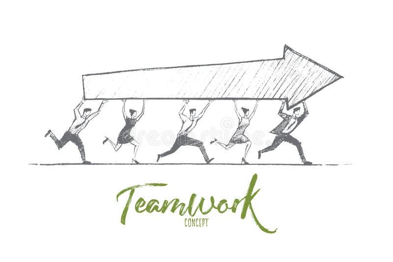 Hand dragit teamworkbegrepp med bokstäver royaltyfri illustrationer