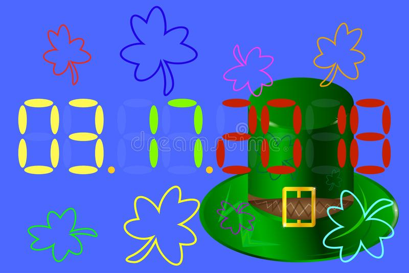 Hand dragit typografiemblem med den gröna hatten och treklövern vektor stock illustrationer