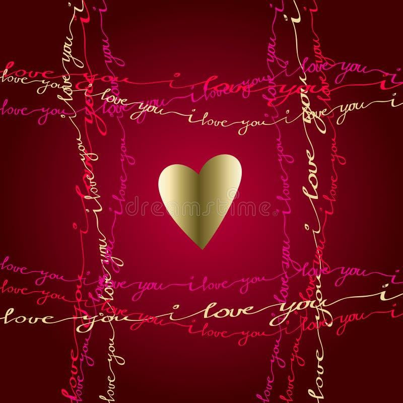 Hand dragit typografikort Valentinförälskelsekort stock illustrationer
