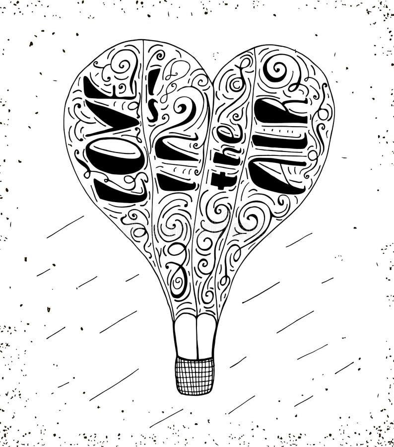 Hand dragit typografitryck med för varm luft bokstäver för ballong och hand- förälskelse är i luften vektor illustrationer