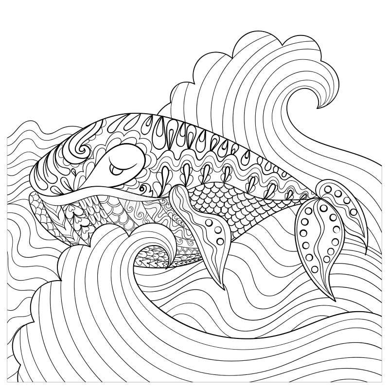 Hand dragit val i vågorna för antistress färgläggningsida med vektor illustrationer