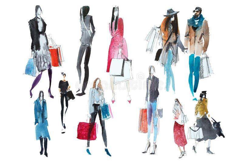 Hand dragit vattenfärgfolk med shoppingpåsar Mode försäljning, höst arkivfoton