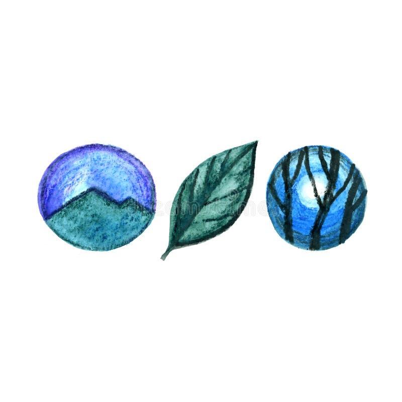 Hand dragit vattenfärglandskap Logo för trädbergdesign stock illustrationer