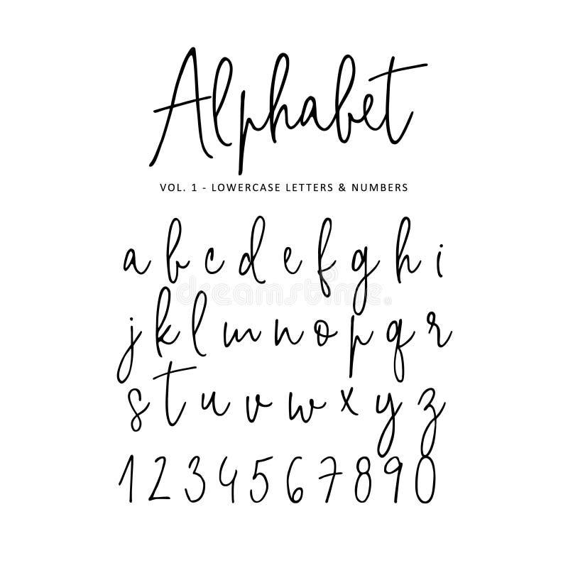 Hand dragit vektoralfabet Modern stilsort för monolinehäfteskrift Isolerade små bokstäver och nummer som är skriftliga med stock illustrationer