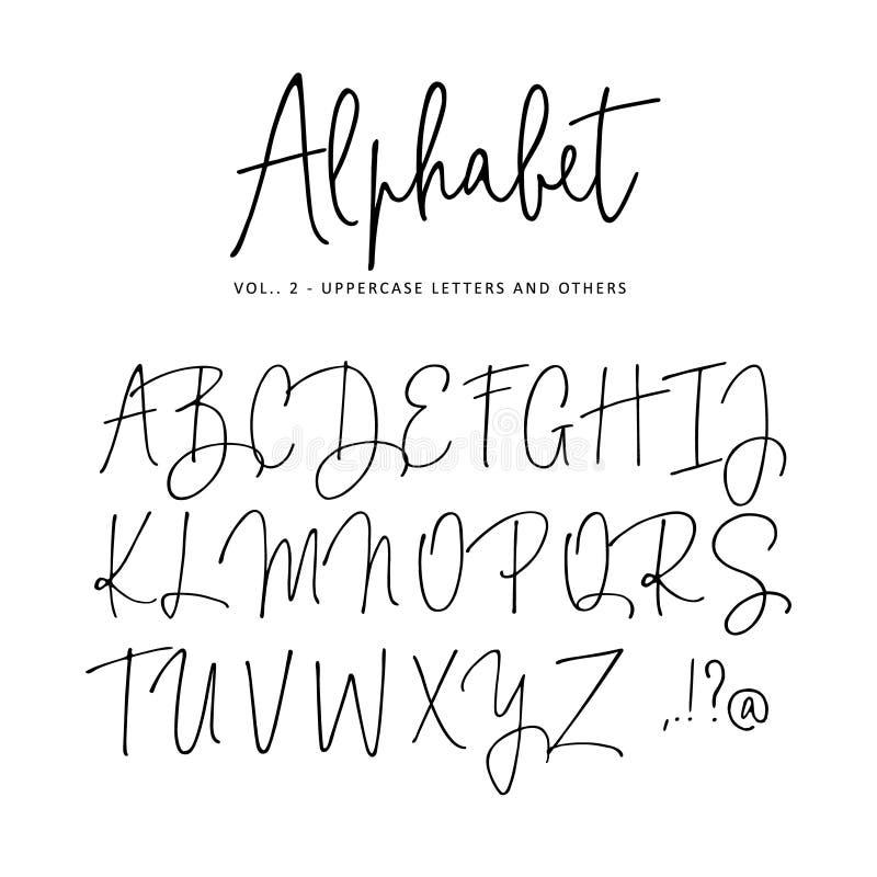 Hand dragit vektoralfabet Modern stilsort för monolinehäfteskrift Isolerade stora bokstäver, initialer som är skriftliga med royaltyfri illustrationer