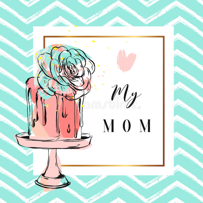 Hand dragit vektorhälsningkort med kakan och suckulent blommagarnering på kakaställning med förälskelse som min mamma citerar iso stock illustrationer