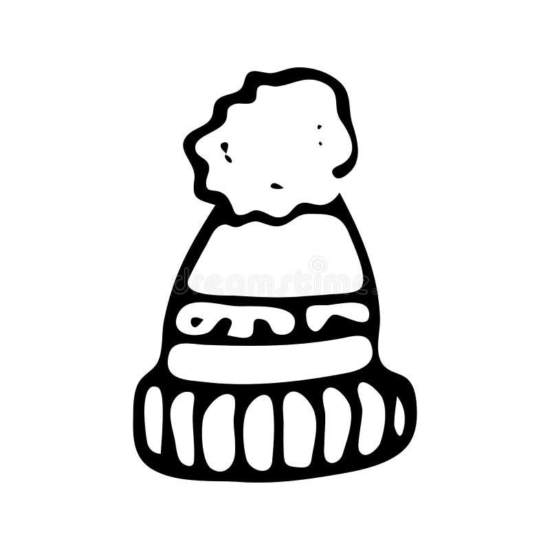 Hand dragit vinterhattklotter Skissa vintersymbolen Taget i Genua, Italien bakgrund isolerad white också vektor för coreldrawillu stock illustrationer