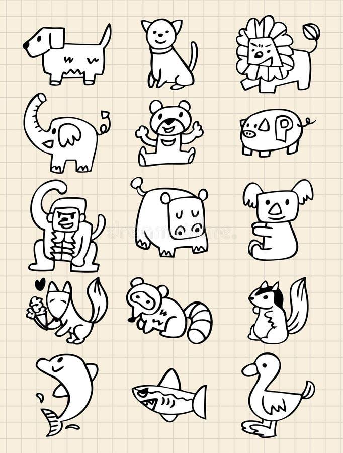 Hand draw animals stock illustration