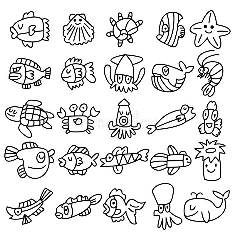 Hand draw aquarium fish icons set royalty free illustration