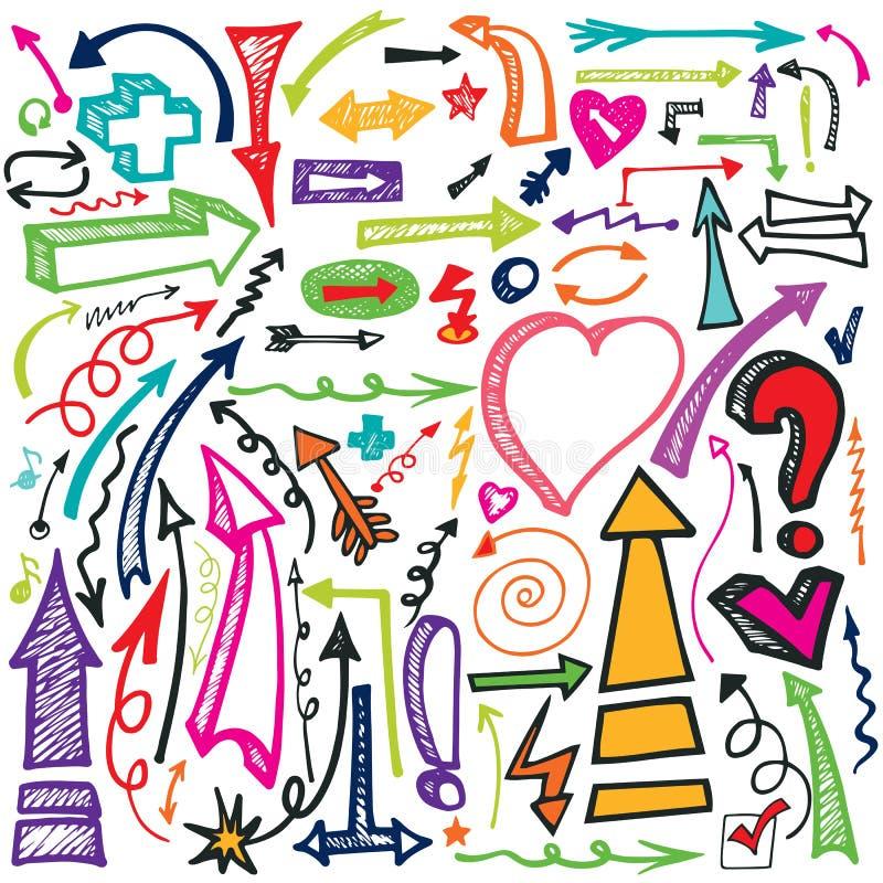 Hand draw Arrow set.Doodle vector royalty free illustration