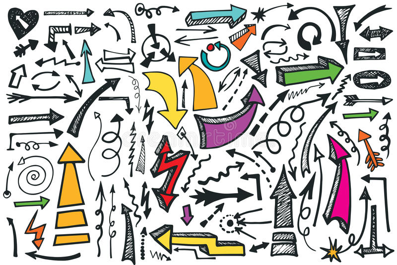 Hand draw Arrows set. Colored Doodle vector royalty free illustration