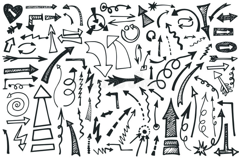 Hand draw Arrows set. Doodle vector stock illustration