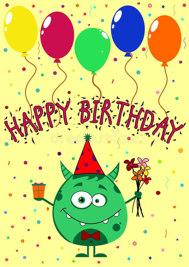 hand draw birthday card with cute funny monster stock illustration