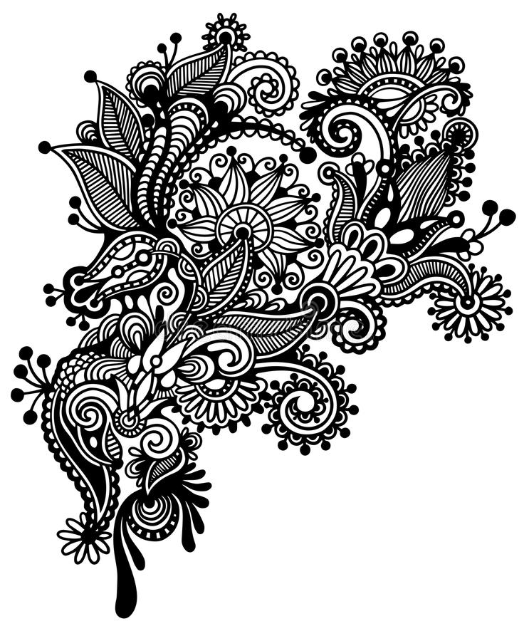 Floral Art Line Design : Hand draw black and white line art ornate flower stock