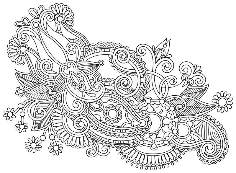 Traditional Flower Line Drawing : Hand draw black and white line art ornate flower stock