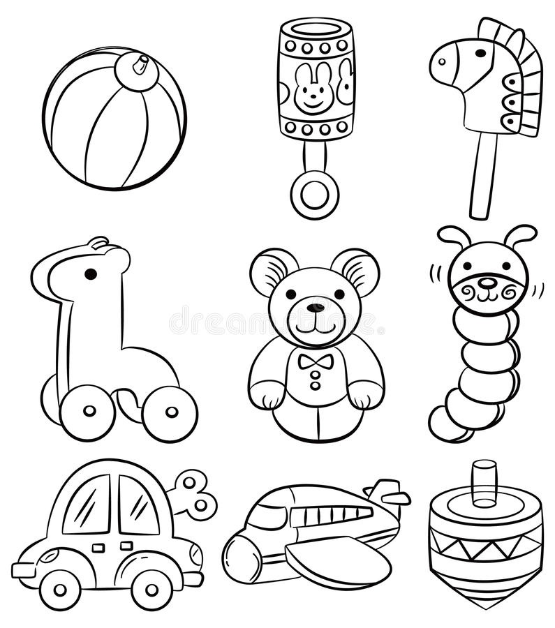 Baby Toys Drawing : Hand draw cartoon baby toy icon stock vector