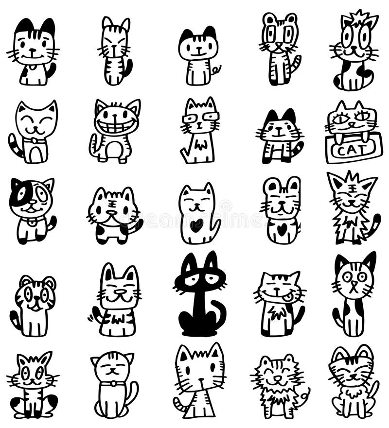 Download Hand draw cartoon cat icon stock vector. Illustration of funky - 18075824