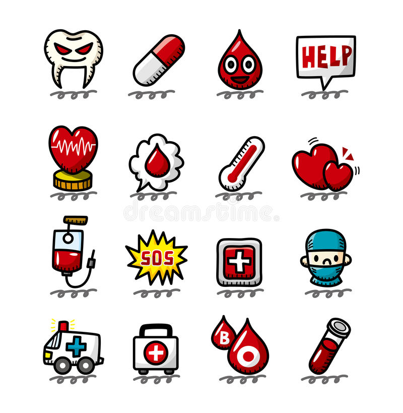 Download Hand Draw Cartoon Medical And Hospital Icons Set Stock Vector - Image: 20484523