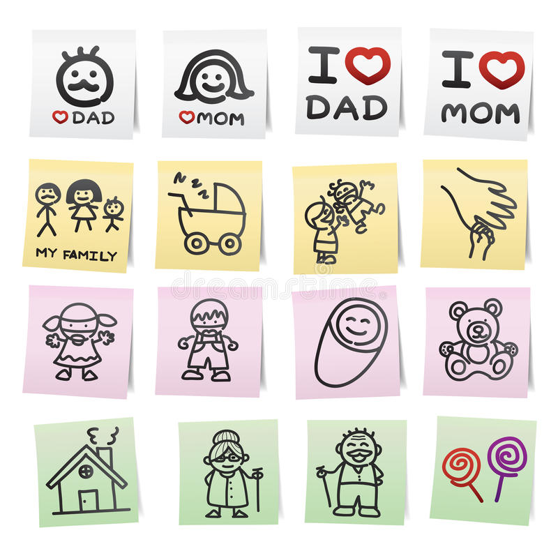 Download Hand Draw Cartoon On Paper Note. Stock Vector - Image: 28789238