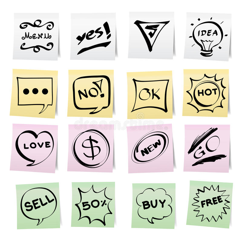 Hand Draw Cartoon On Paper Note Stickers Royalty Free Stock Photography
