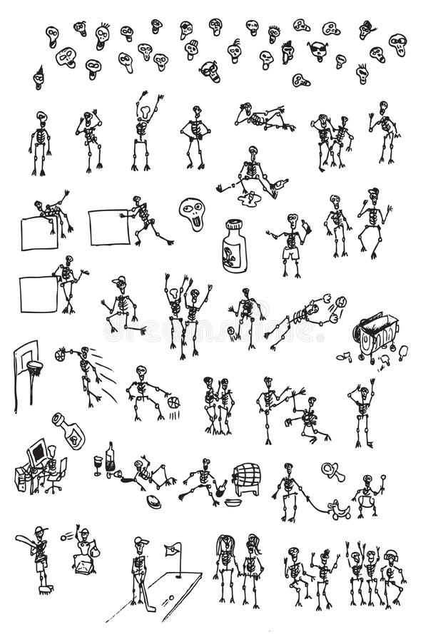 Download Hand Draw Cartoon Skeleton Collection Stock Vector - Image: 15607637