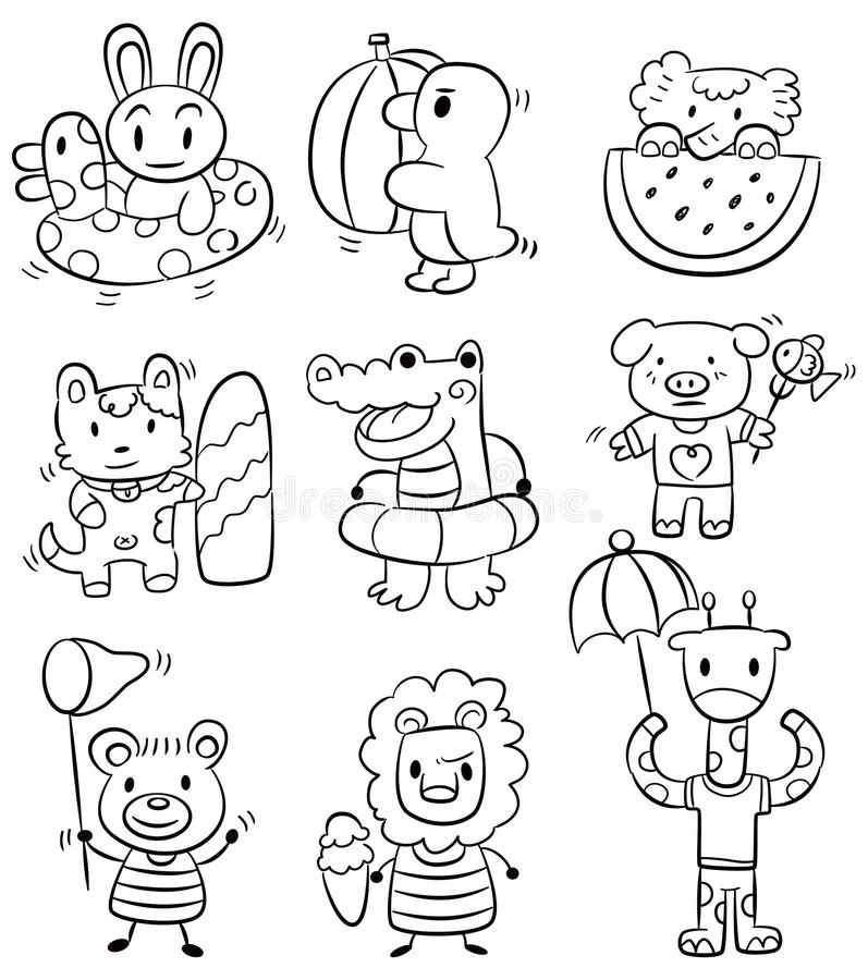Hand draw cartoon summer animal icon stock illustration