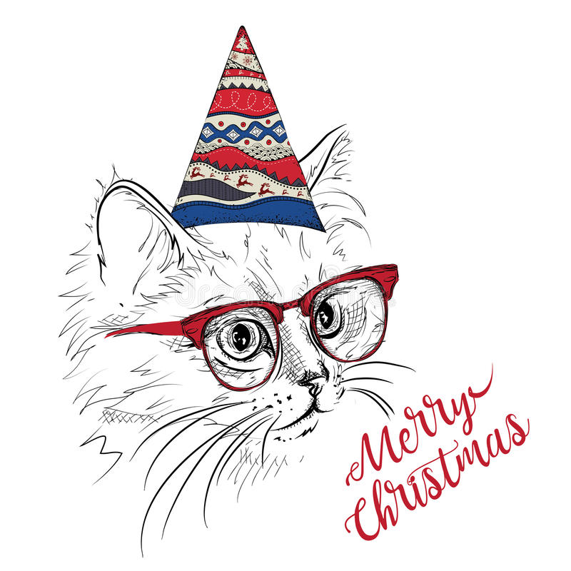 Hand draw cat in a celebratory cap. Merry Christmas card design. Vector illustration vector illustration