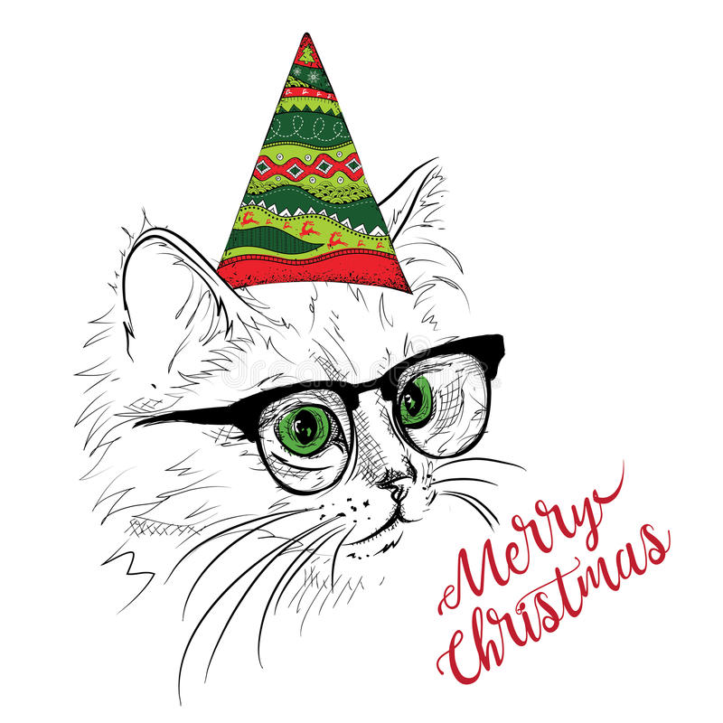 Hand draw cat in a celebratory cap. Merry Christmas card design. Vector illustration stock illustration