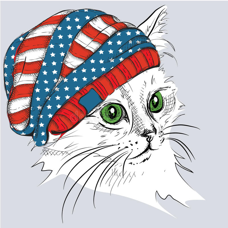 Free Hand Draw Cat In A Hat. Vector Illustration Stock Photos - 62975693