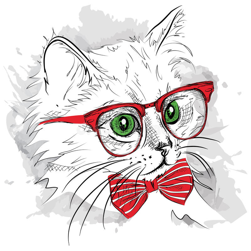 Free Hand Draw Cat In The Glass And Mustache. Vector Illustration Royalty Free Stock Image - 62975766