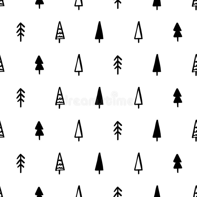 Hand Draw Christmas Tree Seamless Pattern in Doodle style. Vector Monochrome Endless Background stock illustration