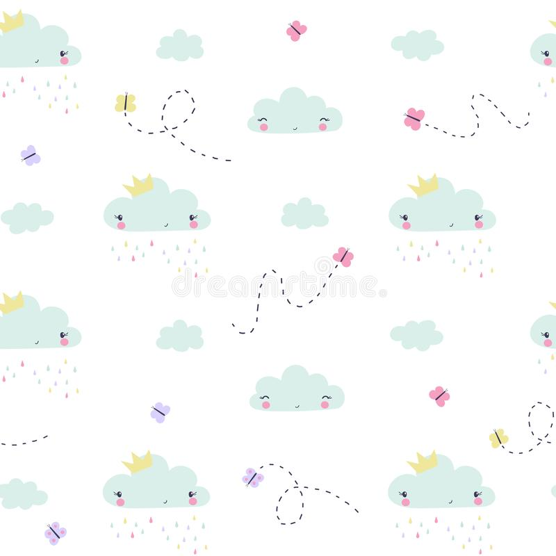 Hand draw clouds and butterflies childish seamless pattern stock illustration