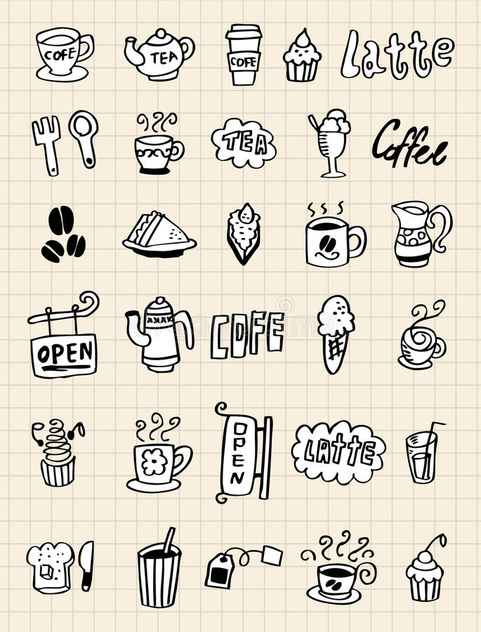 Free Hand Draw Coffee Element Royalty Free Stock Photo - 16793865