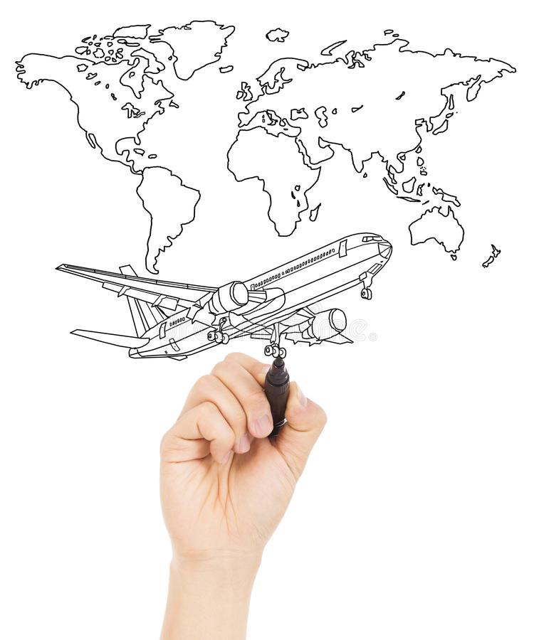 Drawing A World Map. Download Hand Draw A Concept Picture About World Map And Airplane Stock  Photo Image