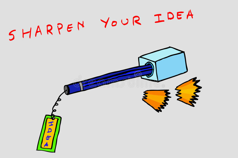Hand Draw Conceptual Sketch, Sharpen Your Idea Stock Vector