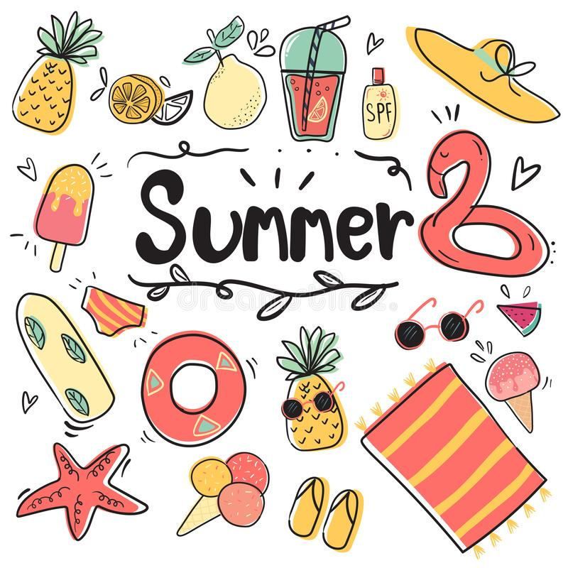 hand draw cute doodle icon summer collection  flat vector illustration stock illustration