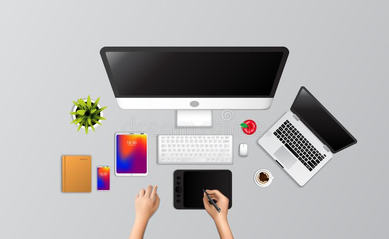 Hand draw designer full computer setup laptop, drawing tab, phone, notebook, coffee from top view. Business work home freelance professional banner landing royalty free illustration