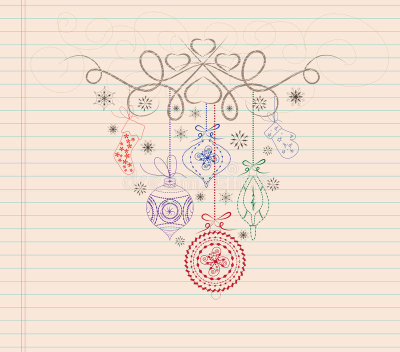 hand draw doodle christmas ornament vector illustration