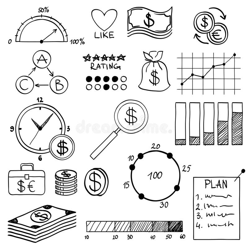 Hand draw doodle elements money and coin icon,. Chart graph. Concept bank business finance analytics earnings vector illustration